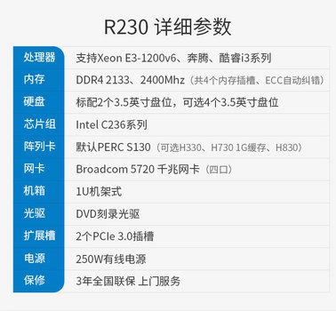 戴尔(DELL) R230 1u机架式服务器主机 机房存储处理器